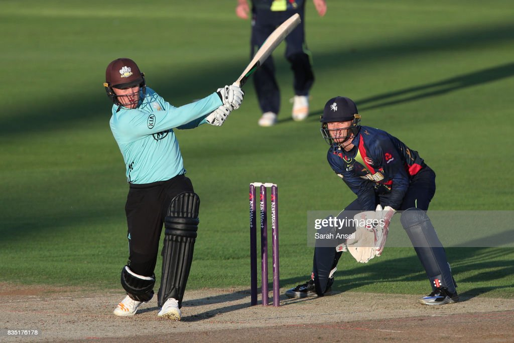Jason Roy of Surrey hits a boundary as Kent Spitfires wicket keeper Sam Billings looks on during the NatWest T20 Blast South Group match between Kent Spitfires and Surrey at The Spitfire Ground on August 18, 2017 in Canterbury, England. (Photo by Sarah Ansell/Getty Images).