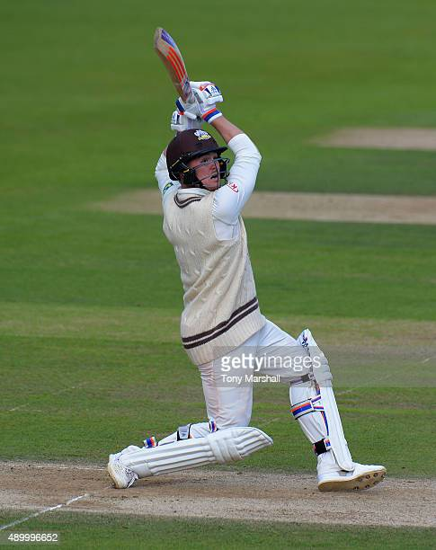 Jason Roy of Surrey hits a six during the LV County Championship Division Two match between Surrey and Northamptoshire at The Kia Oval on September...