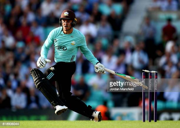 Jason Roy of Surrey hits his bails during the NatWest T20 Blast match between Surrey and Essex Eagles at The Kia Oval on July 19 2017 in London...