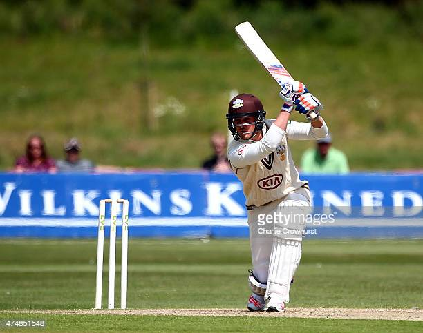 Jason Roy of Surrey hits out during day four of the LV County Championship match between Kent and Surrey at The County Ground Beckenham on May 27...