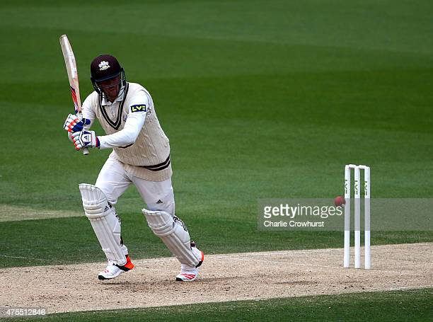 Jason Roy of Surrey hits out during day two of the LV County Championship Division Two match between Surrey and Lancashire at The Kia Oval on June 01...