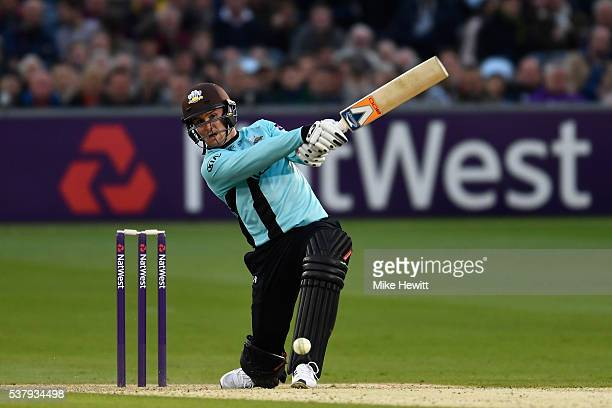 Jason Roy of Surrey hits out during the NatWest T20 Blast between Sussex and Surrey at the 1st Central County Ground on June 3 2016 in Hove England