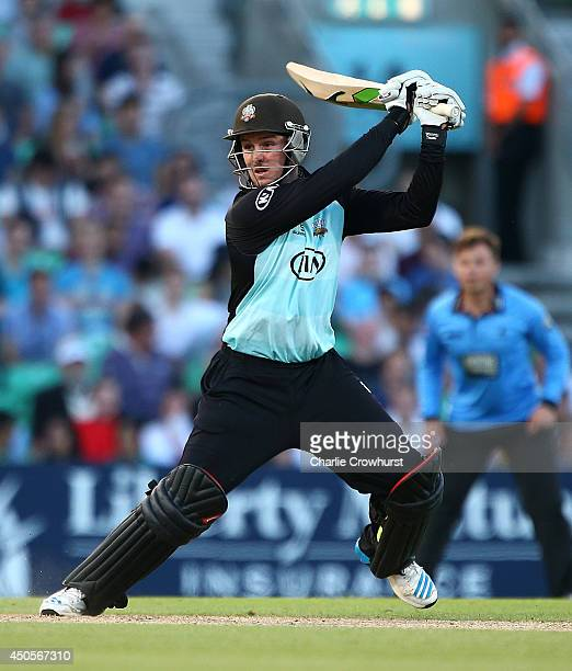 Jason Roy of Surrey hits out during the Natwest T20 Blast match between Surrey and Sussex Sharks at The Kia Oval on June 13 2014 in London England