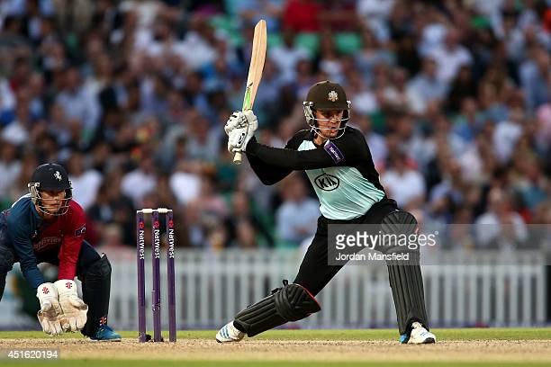 Jason Roy of Surrey hits out during the Natwest T20 Blast match between Surrey and Kent Spitfires at The Kia Oval on July 2 2014 in London England