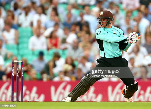 Jason Roy of Surrey hits out during the Natwest T20 Blast match between Surrey and Gloucestershire at The Oval on July 1 2015 in London England