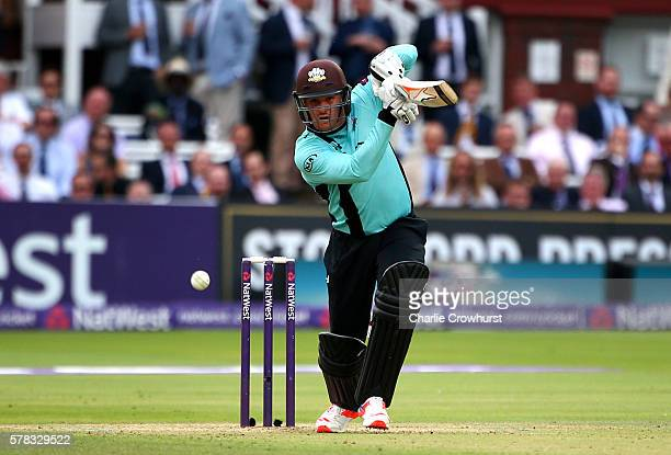 Jason Roy of Surrey hits out during the NatWest T20 Blast match between Middlesex and Surrey at Lord's Cricket Ground on July 21 2016 in London...