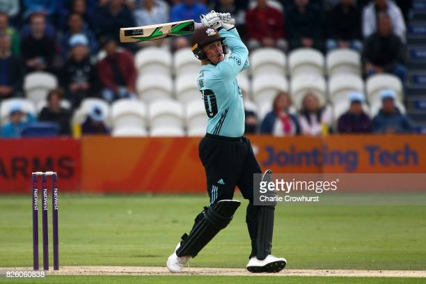 Jason Roy of Surrey hits out during the NatWest T20 Blast match between Sussex Sharks and Surrey at The 1st Central County Ground on August 3 2017 in...