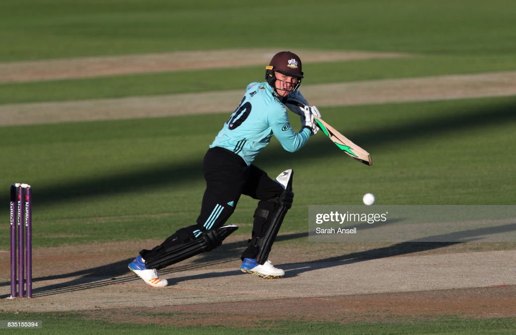 Jason Roy of Surrey hits out during the NatWest T20 Blast South Group match between Kent Spitfires and Surrey at The Spitfire Ground on August 18, 2017 in Canterbury, England. (Photo by Sarah Ansell/Getty Images).
