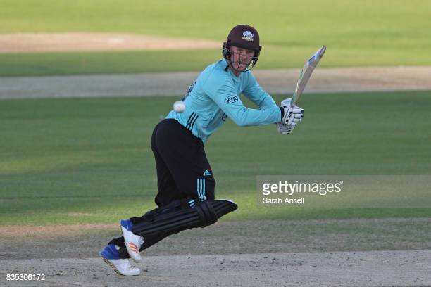 Jason Roy of Surrey hits out during the NatWest T20 Blast South Group match between Kent Spitfires and Surrey at The Spitfire Ground on August 18...
