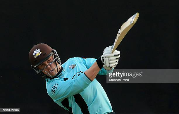 Jason Roy of Surrey in action batting during the NatWest T20 Blast match between Essex and Surrey at the Ford County Ground on May 20 2016 in...