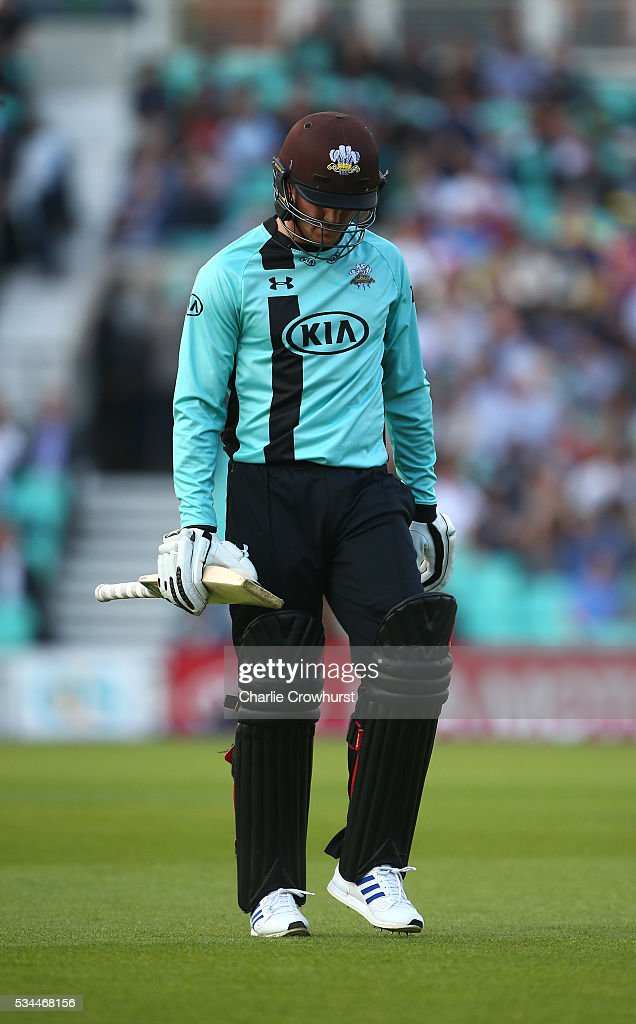 Jason Roy of Surrey looks dejected having been dismissed during the Natwest T20 Blast match between Surrey and Glamorgan at The Kia Oval on May 26, 2016 in London, England.