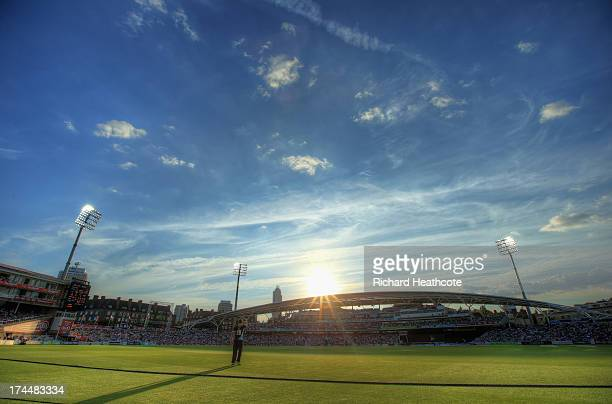 Jason Roy of Surrey on the boundary during the Friends Life T20 match between Surrey Lions and Kent Spitfires at The Kia Oval on July 26 2013 in...