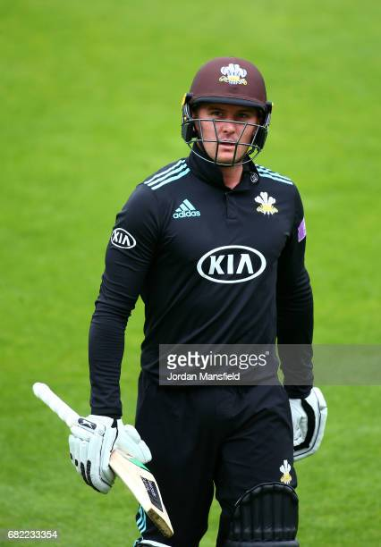 Jason Roy of Surrey walks off after being dismissed by Daniel BellDrummond of Kent during the Royal London OneDay Cup match between Surrey and Kent...
