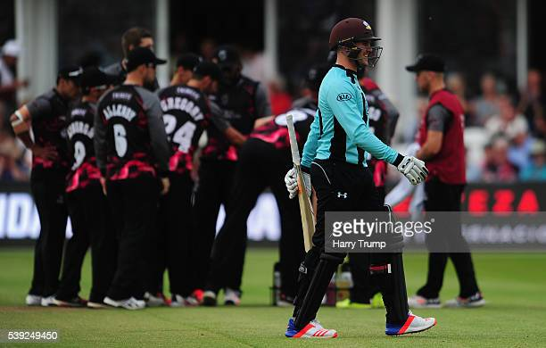 Jason Roy of Surrey walks off after being dismissed during the Natwest T20 Blast match between Somerset and Surrey at The Cooper Associates County...
