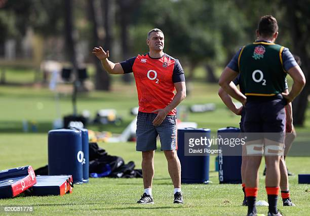Jason Ryles the former Australian rubgy league player who has been brought in as assistant defence coach looks on during the England training session...