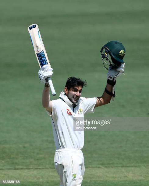 Jason Sangha of CA XI celebrates after reaching a century on day 4 of the four day tour match between Cricket Australia XI and England at Tony...
