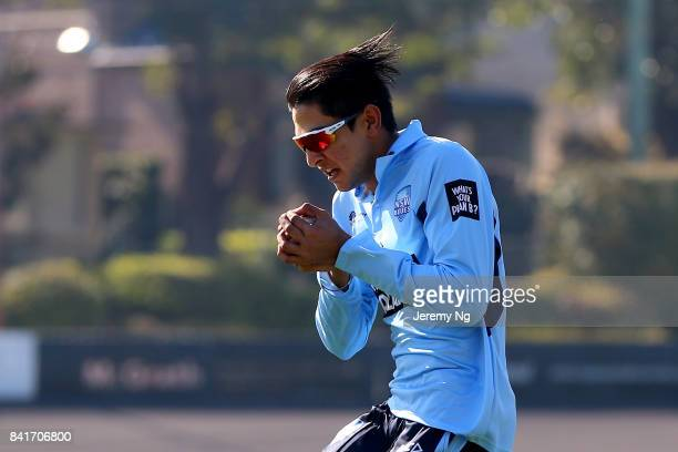 Jason Sangha of Cricket NSW takes a catch during the Cricket NSW Intra Squad Match at Hurstville Oval on September 2 2017 in Sydney Australia