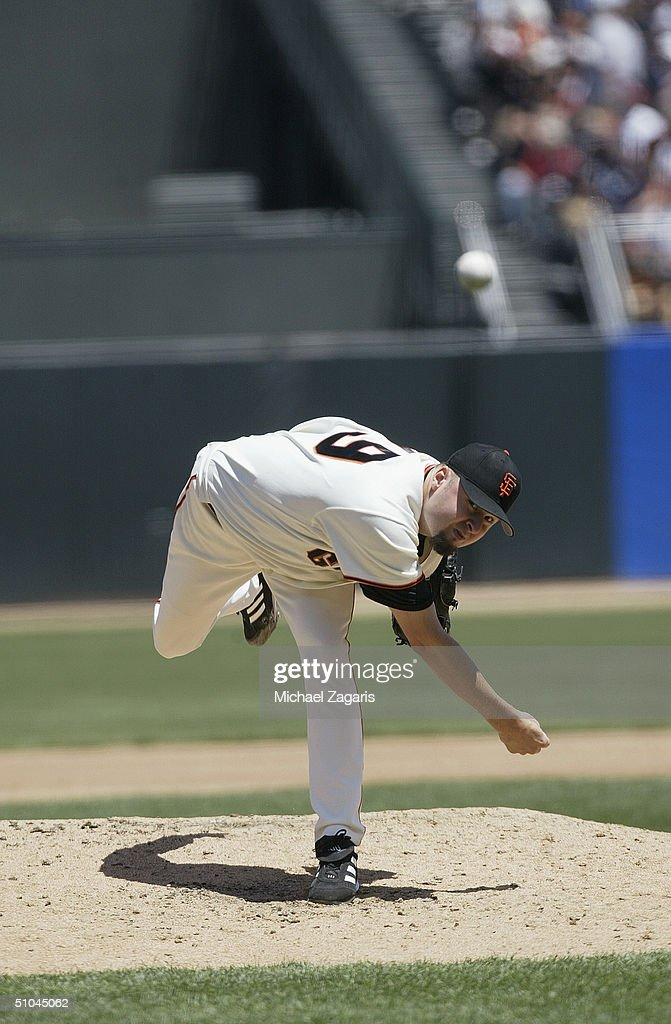 Jason Schmidt #29 of the San Francisco Giants pitches during the MLB game against the Boston Red Sox at SBC Park on June 20, 2004 in San Francisco, California. The Giants defeated the Red Sox 4-0.