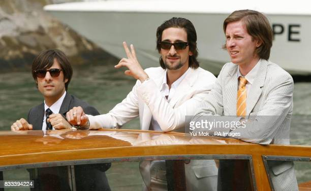 Jason Schwartzman Adrien Brody and director Wes Anderson arrive by boat to attend a photocall for the film 'The Darjeeling Limited' at the Venice...