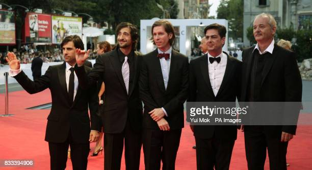Jason Schwartzman Adrien Brody director Wes Anderson Roman Coppola and Bill Murray arrive for the premiere for the film 'The Darjeeling Limited' at...