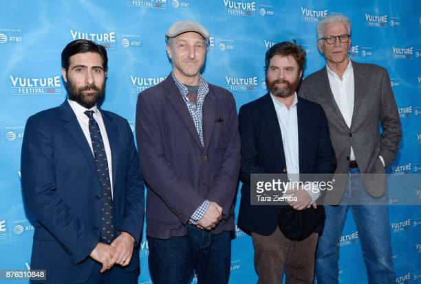 Jason Schwartzman Jonathan Ames Zach Galifianakis and Ted Danson attend the Bored To Death Reunion panel during Vulture Festival Los Angeles at...