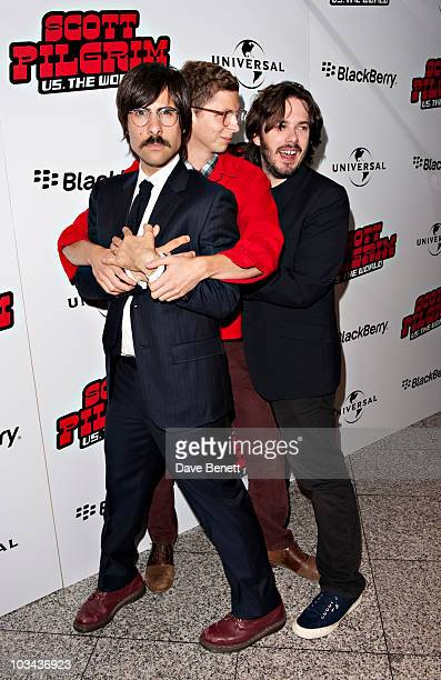 Jason Schwartzman Michael Cera and Director Edgar Wright attend the 'Scott Pilgrim Vs The World' European film premiere at The Empire cinema...