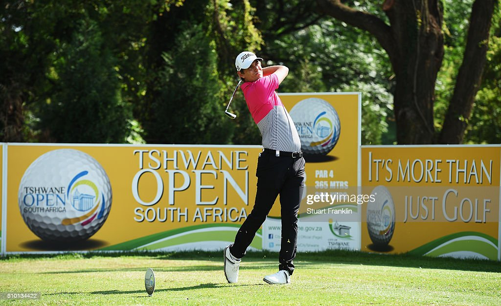 Jason Scrivener of Australia plays a shot during the final round of the Tshwane Open at Pretoria Country Club on February 14, 2016 in Pretoria, South Africa.