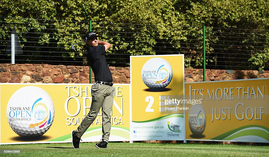 Jason Scrivener of Australia plays a shot during the third round of the Tshwane Open at Pretoria Country Club on February 13, 2016 in Pretoria, South Africa.