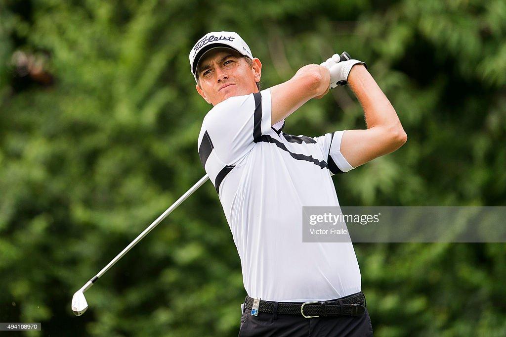Jason Scrivener of Australia tees off on the 15th hole during the final round of the UBS Hong Kong Open at the Hong Kong Golf Club on October 25, 2015 in Hong Kong, Hong Kong.
