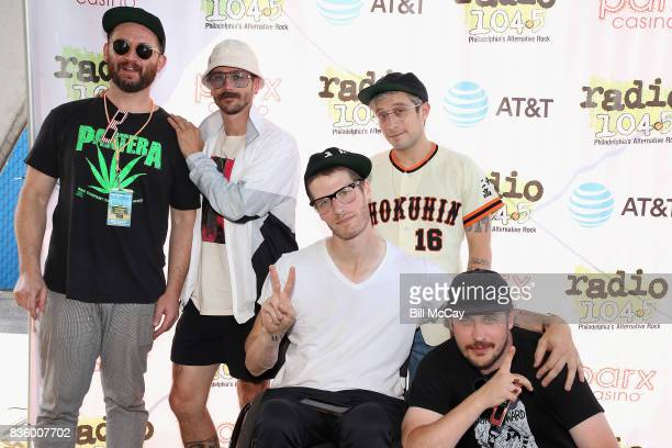 Jason Sechrist John Gourley Eric Howk Kyle O'Quin and Zachary Carothers of the band Portugal The Man pose at the Radio 1045 Summer Block Party August...