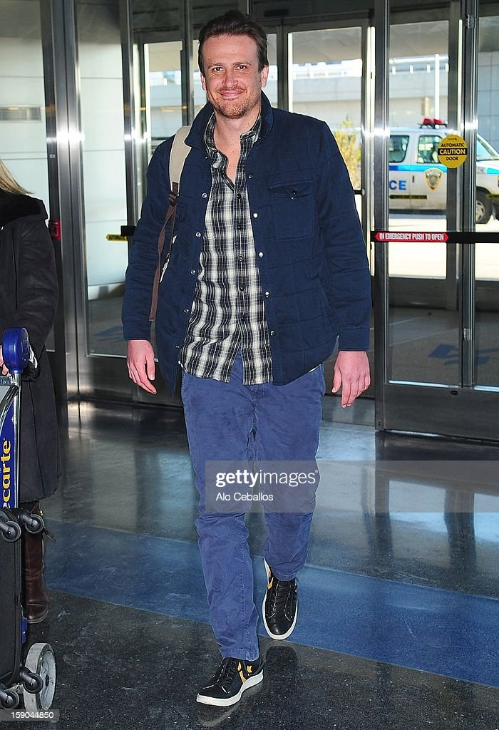 Jason Segel is seen arriving at JFK Airport on January 6, 2013 in New York City.