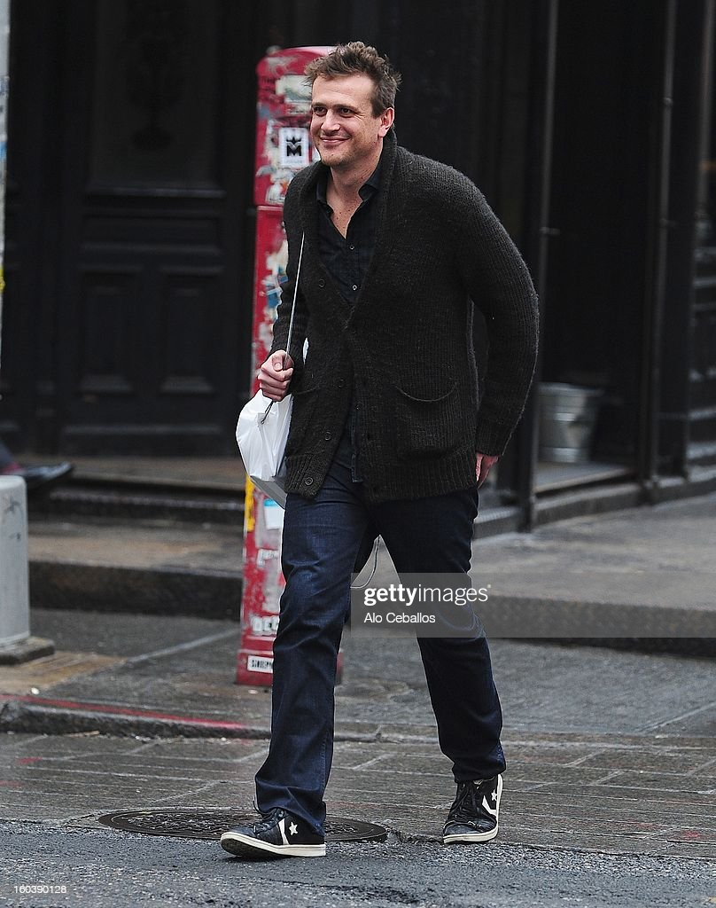 Jason Segel is seen in Soho on January 30, 2013 in New York City.