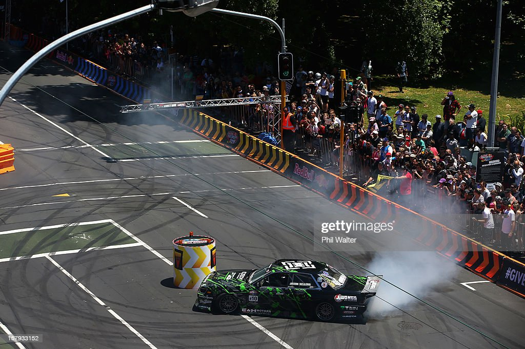 Jason Sellers of New Zealand competes in the Red Bull Drift Shifters along Victoria Street on December 8, 2012 in Auckland, New Zealand.