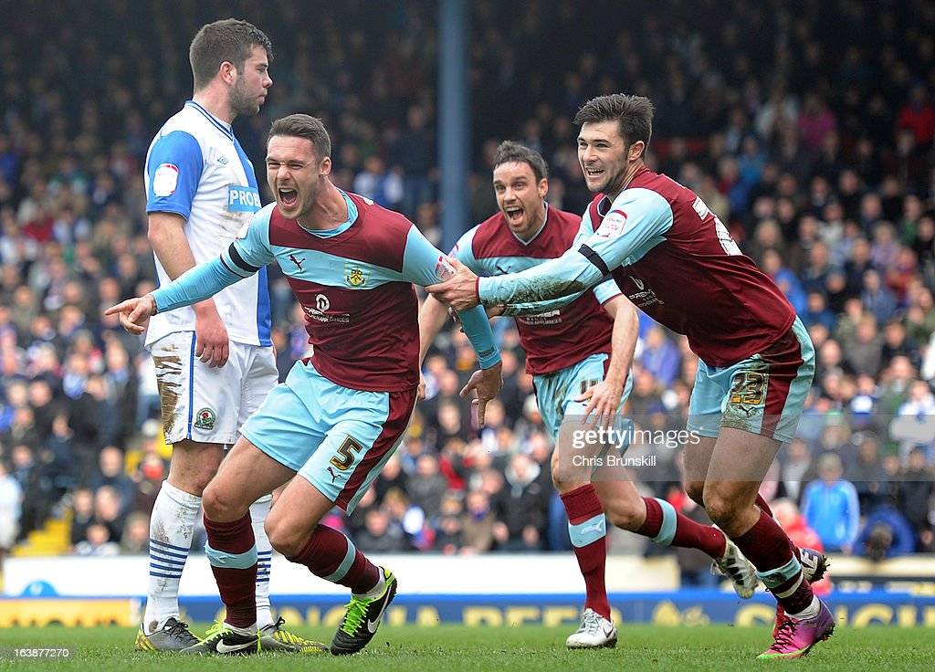 Jason Shackell of Burnley celebrates scoring the opening goal during the npower Championship match between Blackburn Rovers and Burnley at Ewood park on March 17, 2013 in Blackburn, England.