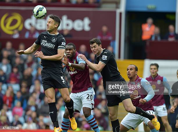 Jason Shackell of Burnley heads a corner clear during the Barclays Premier League match between Aston Villa and Burnley at Villa Park on May 24 2015...