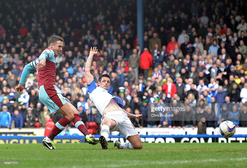 Jason Shackell of Burnley scores the opening goal during the npower Championship match between Blackburn Rovers and Burnley at Ewood park on March 17, 2013 in Blackburn, England.