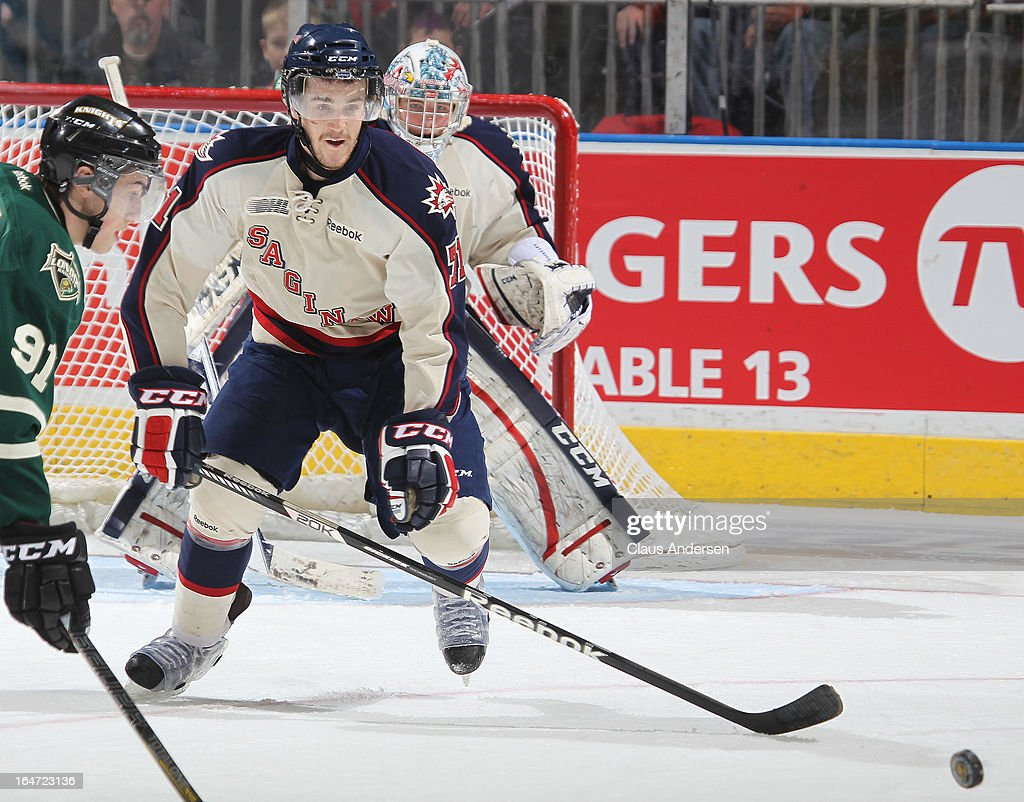 <a gi-track='captionPersonalityLinkClicked' href=/galleries/search?phrase=Jason+Shaw&family=editorial&specificpeople=3205090 ng-click='$event.stopPropagation()'>Jason Shaw</a> #71 of the Saginaw Spirit defends in a first round playoff game against the London Knights on March 24, 2013 at the Budweiser Gardens in London, Ontario, Canada. The Knights defeated the Spirit 3-2 in double overtime to take a 2-0 series lead.