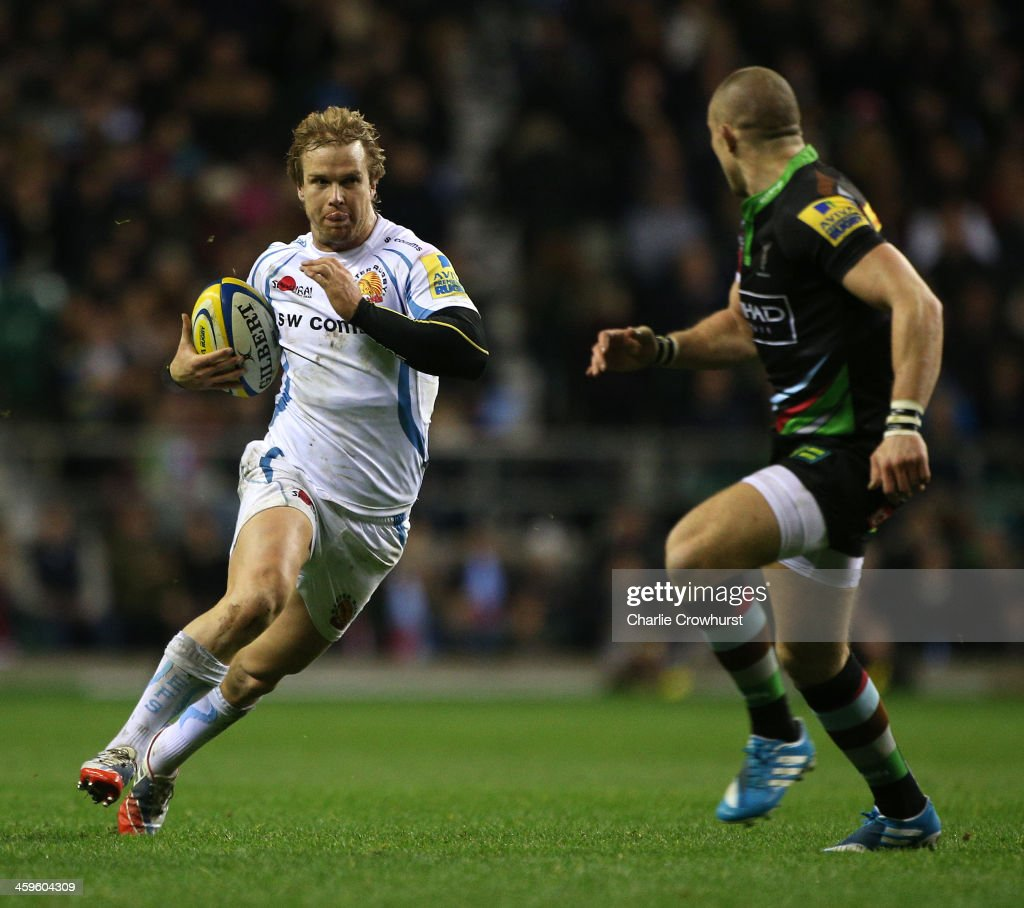 Jason Shoemark of Exeter attacks during the Aviva Premiership match between Harlequins and Exeter Chiefs at Twickenham Stadium on December 28, 2013 in London, England.
