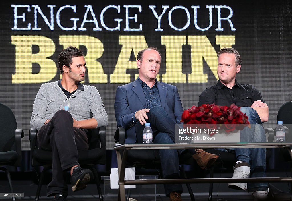 Jason Silva, <a gi-track='captionPersonalityLinkClicked' href=/galleries/search?phrase=Tom+Papa&family=editorial&specificpeople=639823 ng-click='$event.stopPropagation()'>Tom Papa</a> and Tim Shaw speak onstage during the 'National Geographic Channel - Engage Your Brain' panel discussion at the National Geographic Channels portion of the 2014 Winter Television Critics Association tour at the Langham Hotel on January 10, 2014 in Pasadena, California.