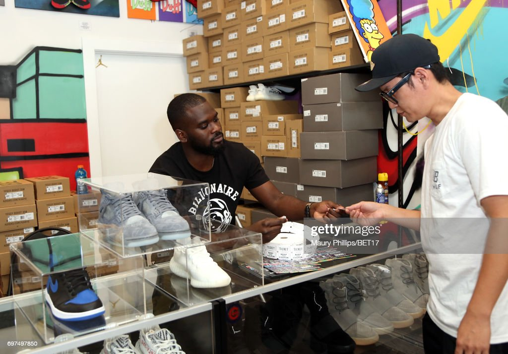 Jason Sim and Roland Reaves attend BETX Pop Up at Cool Kicks on June 18, 2017 in Los Angeles, California.