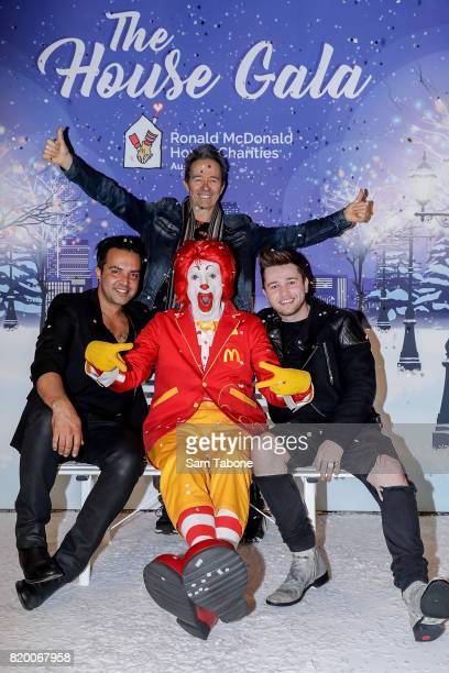 Jason Singh Mark Gable and Reece Mastin arrive ahead of the Victorian RMHC Ball at Crown Palladium on July 21 2017 in Melbourne Australia