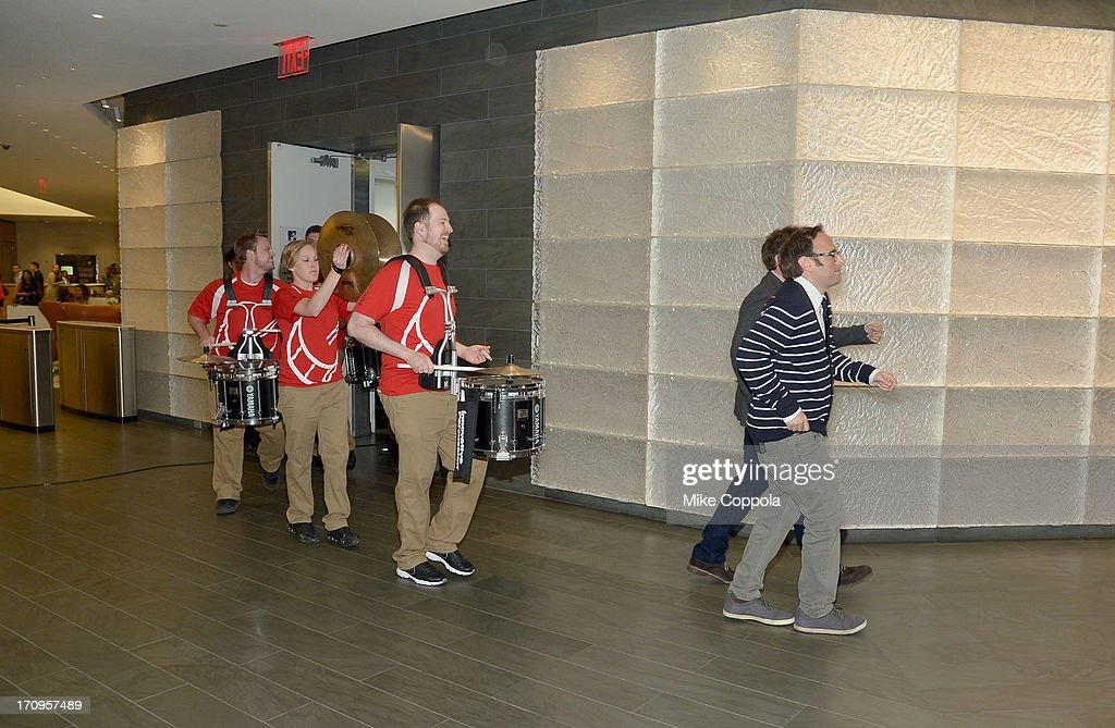 Jason Sklar and Randy Sklar lead the Gallant Entertainment Drumline at the MTV, VH1, CMT & LOGO 2013 O Music Awards on June 20, 2013 in New York City.