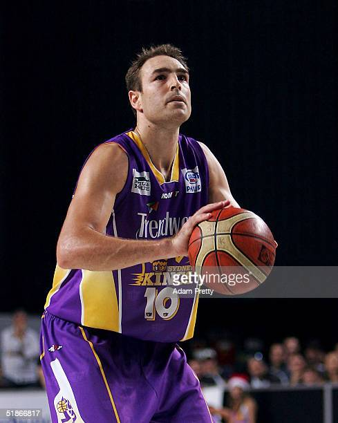Jason Smith of the Kings shoots three free throws to win the game during the NBL Basketball match between the Sydney Kings and the Hunter Pirates at...