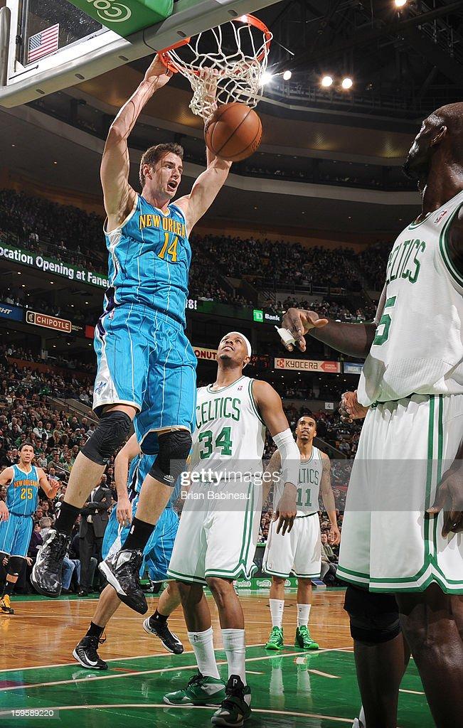 Jason Smith #14 of the New Orleans Hornets dunks the ball against the Boston Celtics on January 16, 2013 at the TD Garden in Boston, Massachusetts.