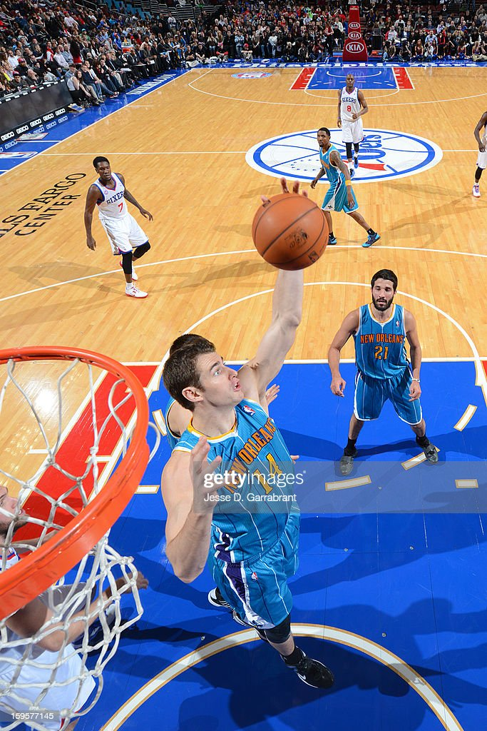 Jason Smith #14 of the New Orleans Hornets grabs a rebound against the Philadelphia 76ers at the Wells Fargo Center on January 15, 2013 in Philadelphia, Pennsylvania.