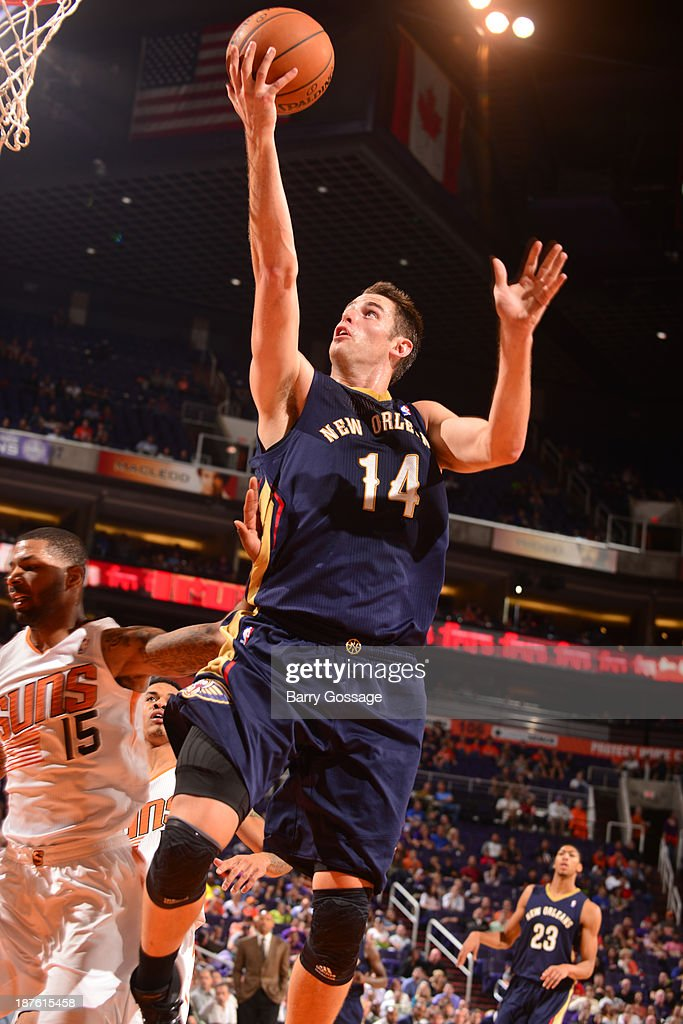 Jason Smith #14 of the New Orleans Pelicans puts a shot in against the Phoenix Suns on November 10, 2013 at U.S. Airways Center in Phoenix, Arizona.