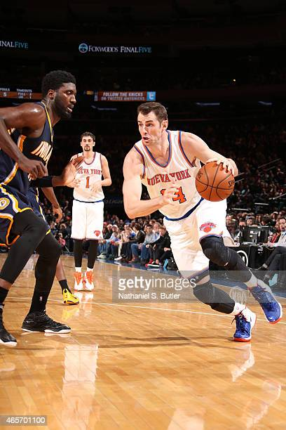 Jason Smith of the New York Knicks drives against the Indiana Pacers on March 7 2015 at Madison Square Garden in New York City NOTE TO USER User...