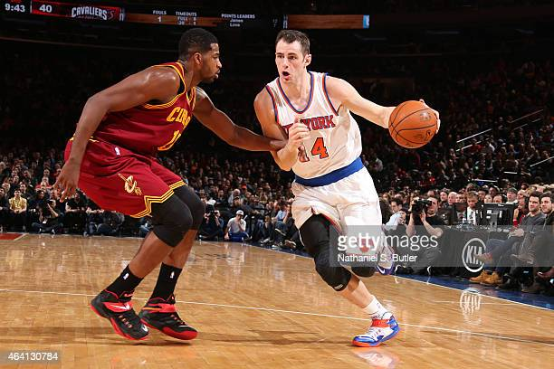 Jason Smith of the New York Knicks drives to the basket against the Cleveland Cavaliers during the game on February 22 2015 at Madison Square Garden...