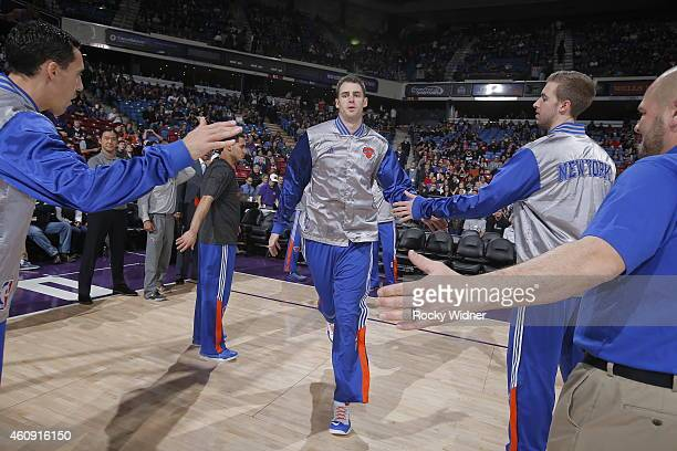Jason Smith of the New York Knicks gets introduced into the starting lineup against the Sacramento Kings on December 27 2014 at Sleep Train Arena in...