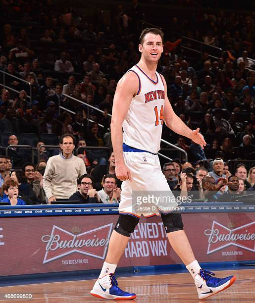Jason Smith of the New York Knicks gets pumped up after a play against the Philadelphia 76ers at Madison Square Garden on April 5 2015 in New York...